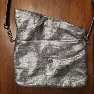 Giannini Fold Over Shoulder Carry Sequin Purse